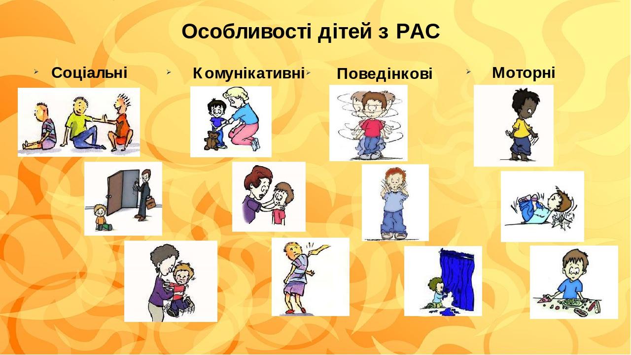 Особливості дітей з РАС Соціальні Комунікативні Поведінкові Моторні
