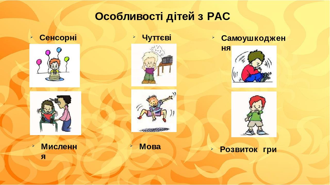 Особливості дітей з РАС Сенсорні Чуттєві Самоушкодження Мова Мислення Розвиток гри
