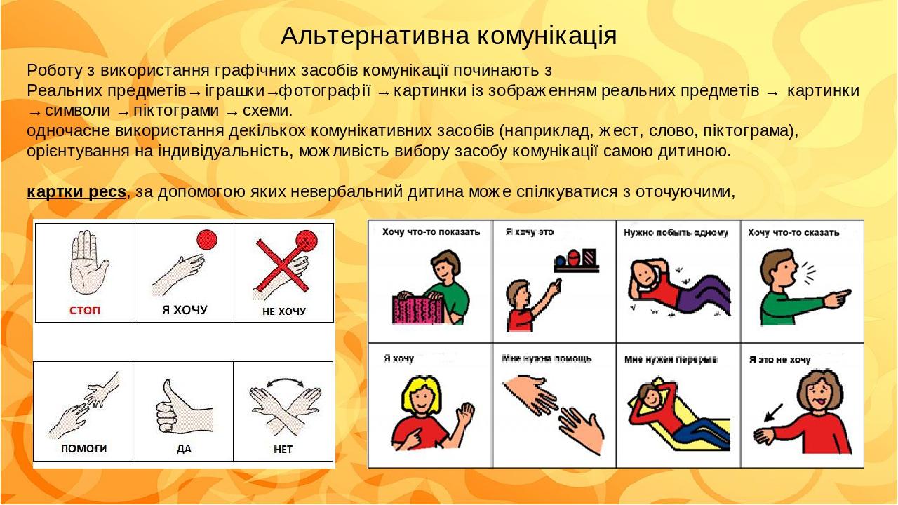 Роботу з використання графічних засобів комунікації починають з Реальних предметів→ іграшки→фотографії → картинки із зображенням реальних предметів...