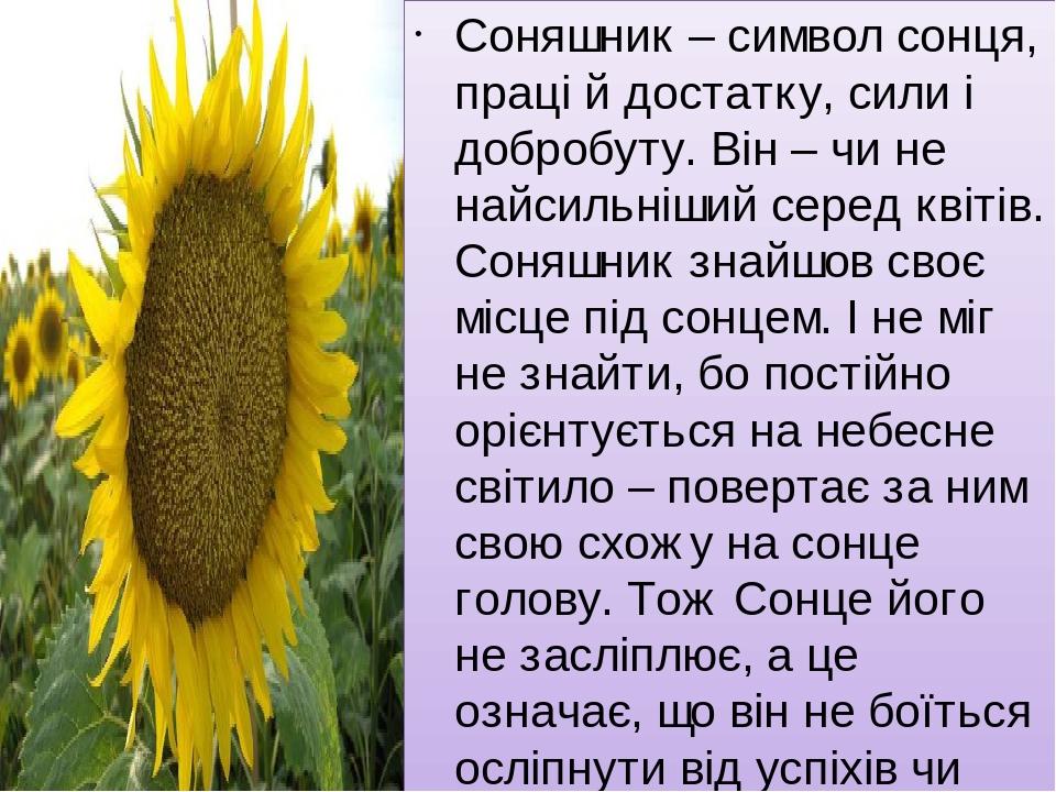 Соняшник – символ сонця, праці й достатку, сили і добробуту. Він – чи не найсильніший серед квітів. Соняшник знайшов своє місце під сонцем. І не мі...