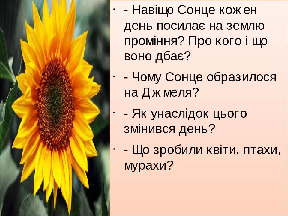 -Навіщо Сонце кожен день посилає на землю проміння? Про кого і що воно дбає? - Чому Сонце образилося на Джмеля? - Як унаслідок цього змінився день...
