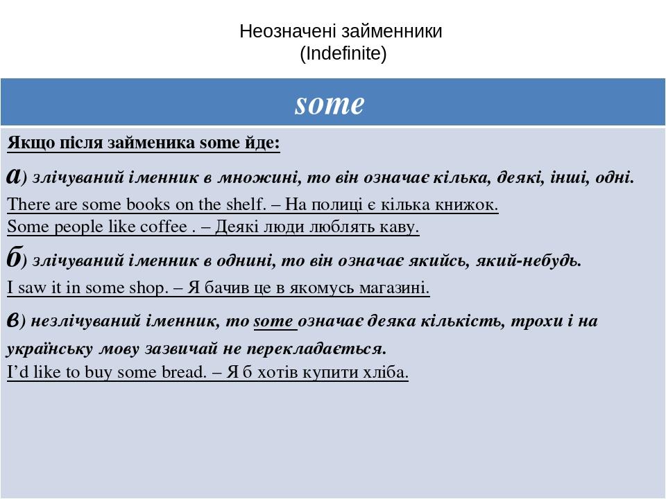 Неозначені займенники (Indefinite) some Якщопіслязайменикаsomeйде: а)злічуванийіменник в множині, то він означаєкілька, деякі, інші, одні. There ar...