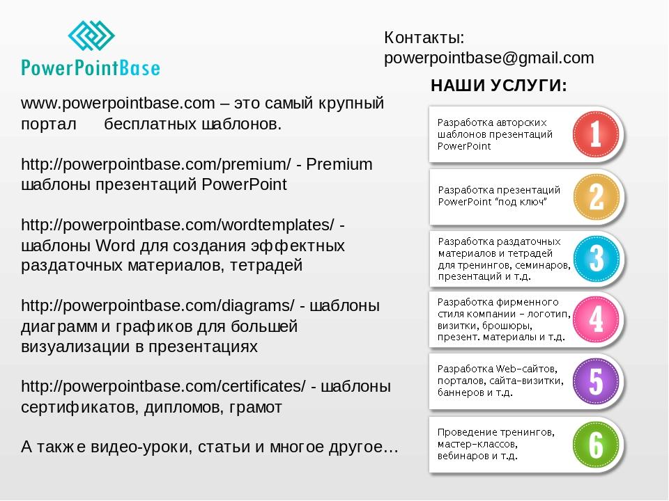 www.powerpointbase.com – это самый крупный портал бесплатных шаблонов. http://powerpointbase.com/premium/ - Premium шаблоны презентаций PowerPoint ...