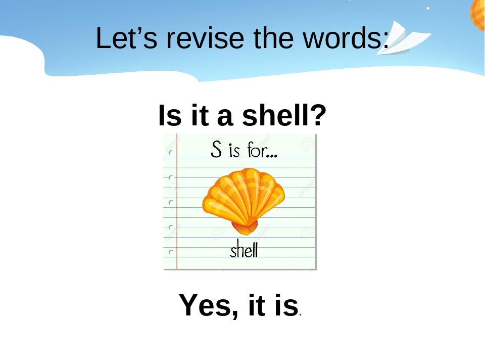 Let's revise the words: Is it a shell? Yes, it is.