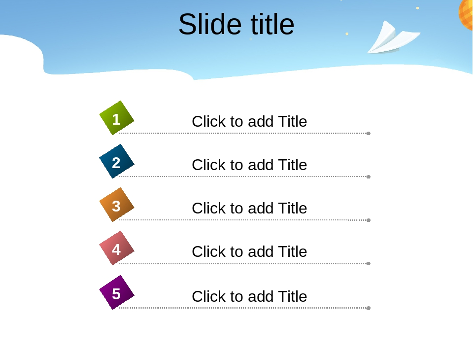 Slide title Click to add Title 4 Click to add Title 1 Click to add Title 2 Click to add Title 3 Click to add Title 5