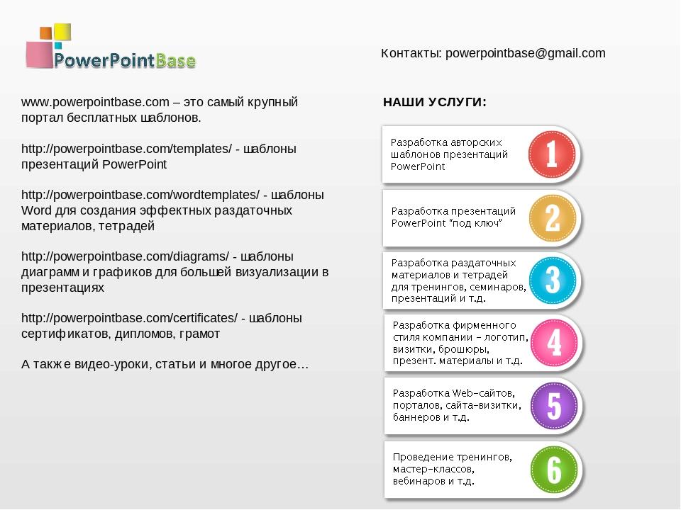 www.powerpointbase.com – это самый крупный портал бесплатных шаблонов. http://powerpointbase.com/templates/ - шаблоны презентаций PowerPoint http:/...