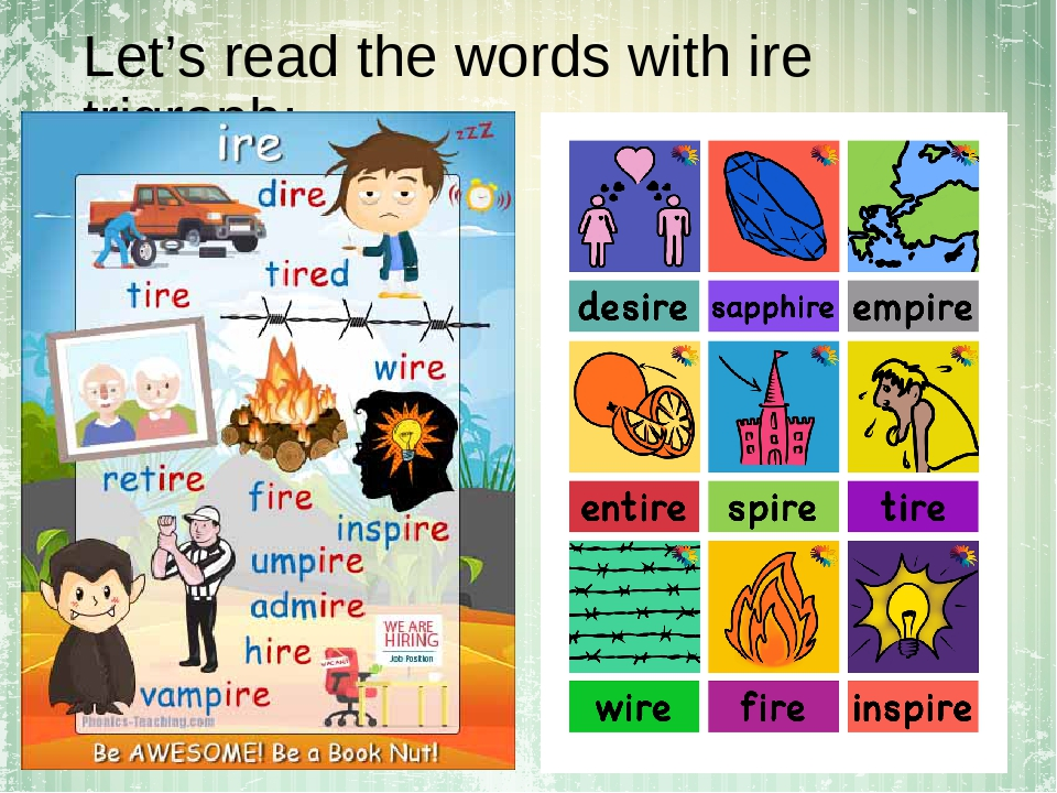Let's read the words with ire trigraph: