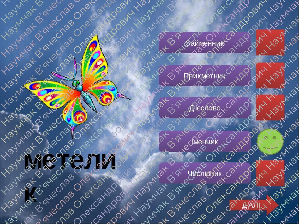 Займенник Прикметник Дієслово Іменник Числівник ДАЛІ метелик