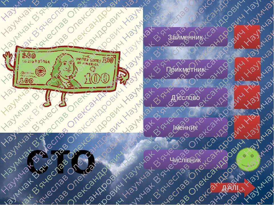 Дієслово Прикметник Іменник Числівник Займенник ДАЛІ сто