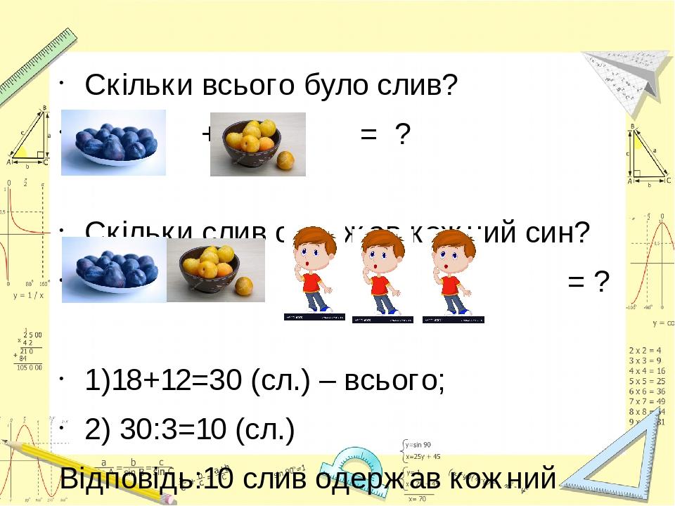 Скільки всього було слив? + = ? Скільки слив одержав кожний син? : = ? 1)18+12=30 (сл.) – всього; 2) 30:3=10 (сл.) Відповідь:10 слив одержав кожний...