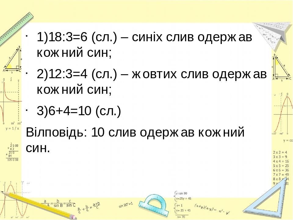 1)18:3=6 (сл.) – синіх слив одержав кожний син; 2)12:3=4 (сл.) – жовтих слив одержав кожний син; 3)6+4=10 (сл.) Вілповідь: 10 слив одержав кожний син.