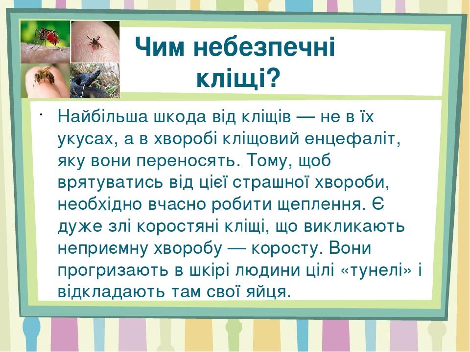 Чим небезпечні кліщі? Найбільша шкода від кліщів — не в їх укусах, а в хворобі кліщовий енцефаліт, яку вони переносять. Тому, щоб врятуватись від ц...