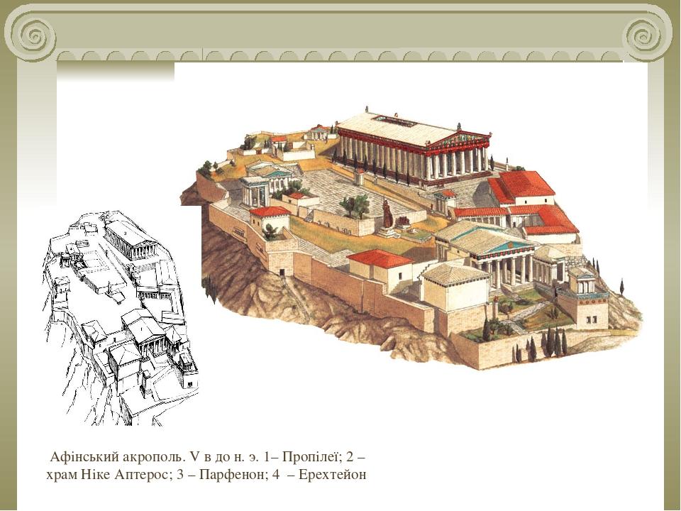 Афінський акрополь. V в до н. э. 1– Пропілеї; 2 – храм Ніке Аптерос; 3 – Парфенон; 4 – Ерехтейон