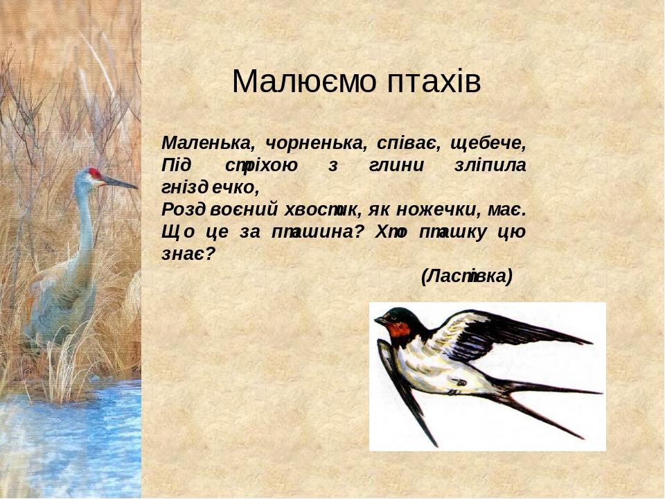 Маленька, чорненька, співає, щебече, Під стріхою з глини зліпила гніздечко, Роздвоєний хвостик, як ножечки, має. Що це за пташина? Хто пташку цю зн...