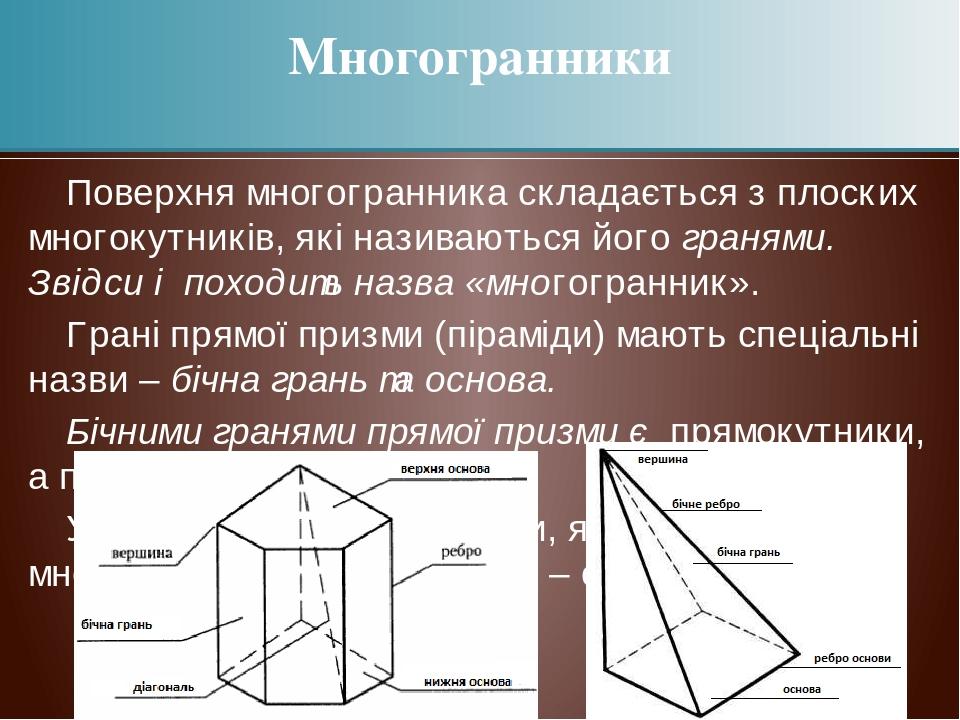 Поверхня многогранника складається з плоских многокутників, які називаються його гранями. Звідси і походить назва «многогранник». Грані прямої приз...