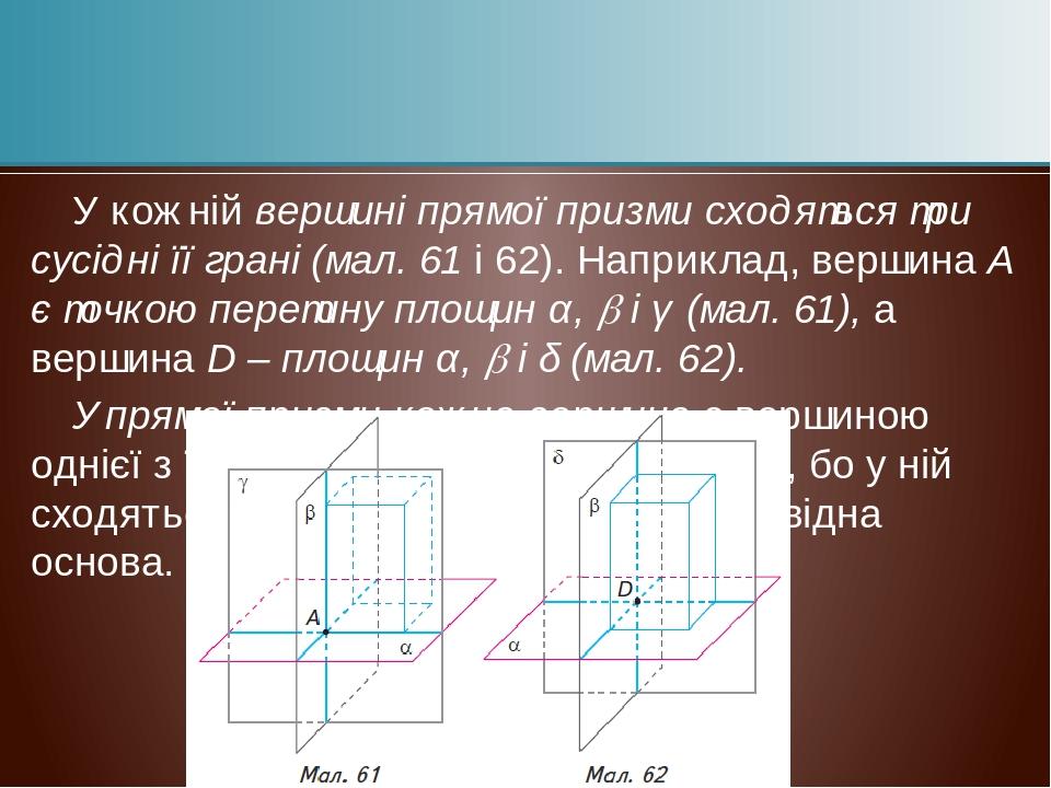 У кожній вершині прямої призми сходяться три сусідні її грані (мал. 61 і 62). Наприклад, вершина А є точкою перетину площин α,  і γ (мал. 61), а в...