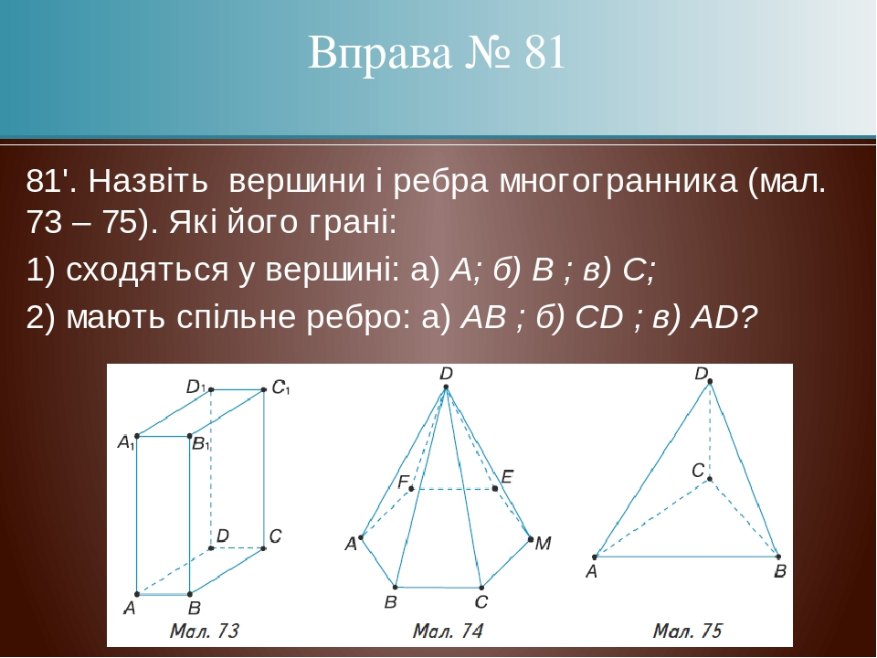81'. Назвіть вершини і ребра многогранника (мал. 73 – 75). Які його грані: 1) сходяться у вершині: а) А; б) В ; в) С; 2) мають спільне ребро: а) AB...