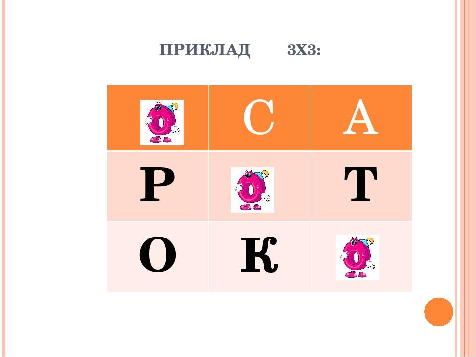 ПРИКЛАД 3Х3: С А Р Т О К