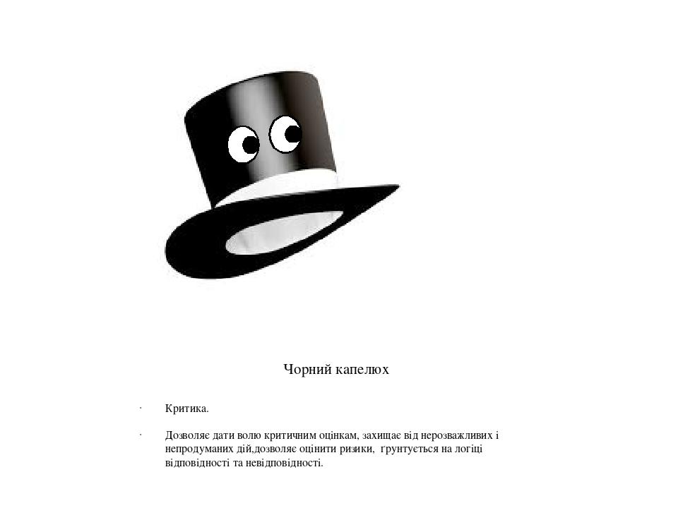 Чорний капелюх Критика. Дозволяє дати волю критичним оцінкам, захищає від нерозважливих і непродуманих дій,дозволяє оцінити ризики, ґрунтується на ...