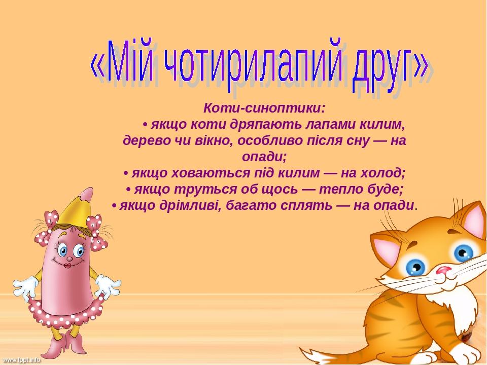 Коти-синоптики:  • якщо коти дряпають лапами килим, дерево чи вікно, особливо після сну — на опади; • якщо ховаються під килим — на холод; • як...