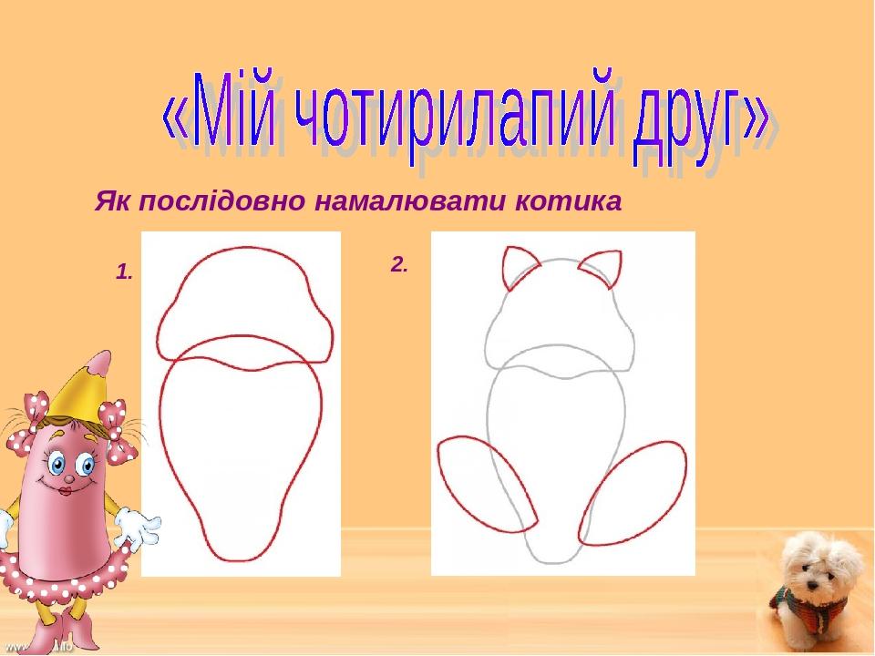 1. Як послідовно намалювати котика 2.