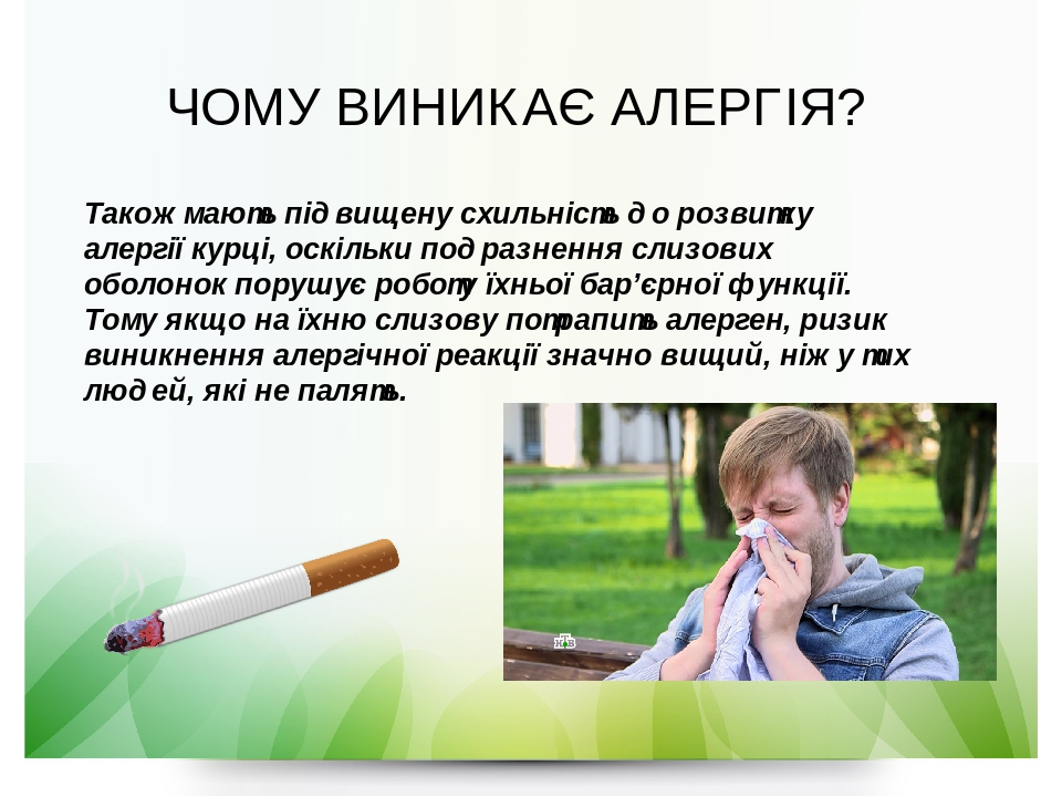 Також мають підвищену схильність до розвитку алергії курці, оскільки подразнення слизових оболонок порушує роботу їхньоїбар'єрної функції. Тому як...