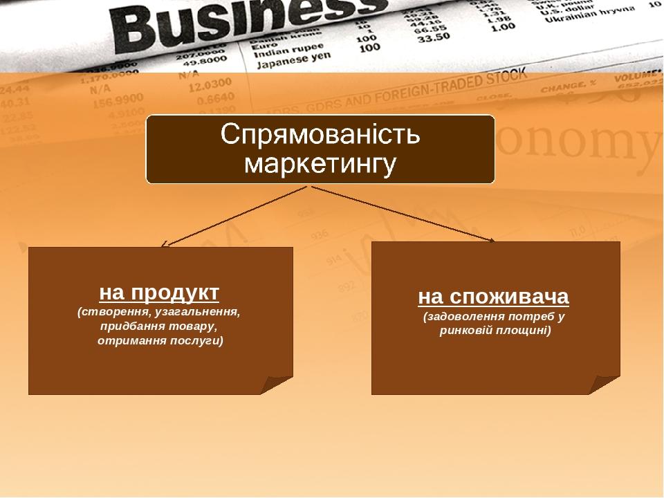 на продукт (створення, узагальнення, придбання товару, отримання послуги) на споживача (задоволення потреб у ринковій площині)