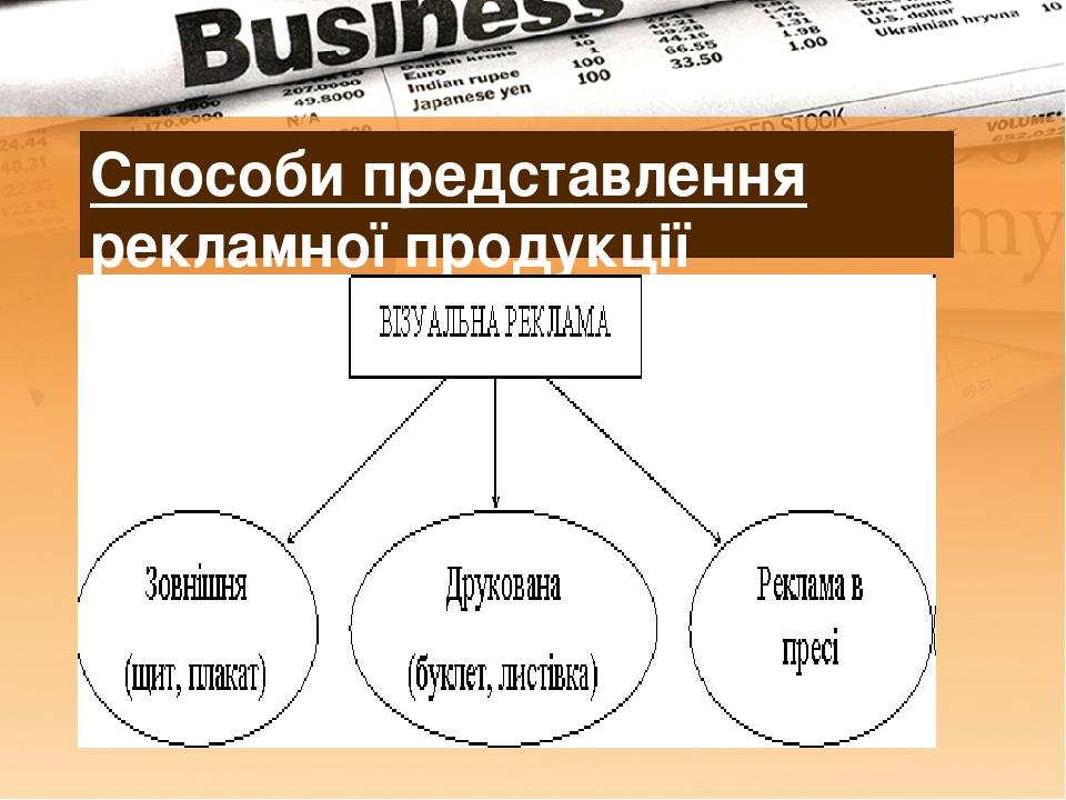Способи представлення рекламної продукції