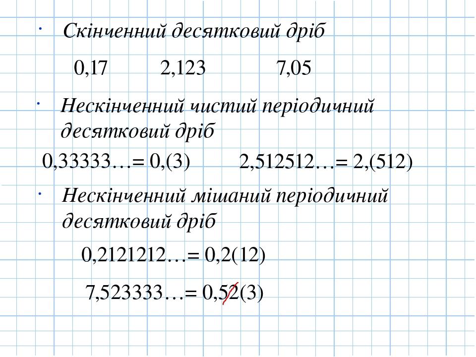 Скінченний десятковий дріб Нескінченний чистий періодичний десятковий дріб Нескінченний мішаний періодичний десятковий дріб 0,17 2,123 7,05 0,33333...