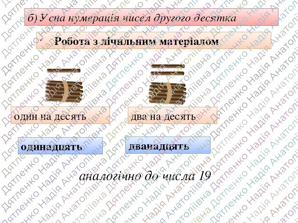 б) Усна нумерація чисел другого десятка Робота з лічильним матеріалом один на десять одинадцять два на десять дванадцять аналогічно до числа 19