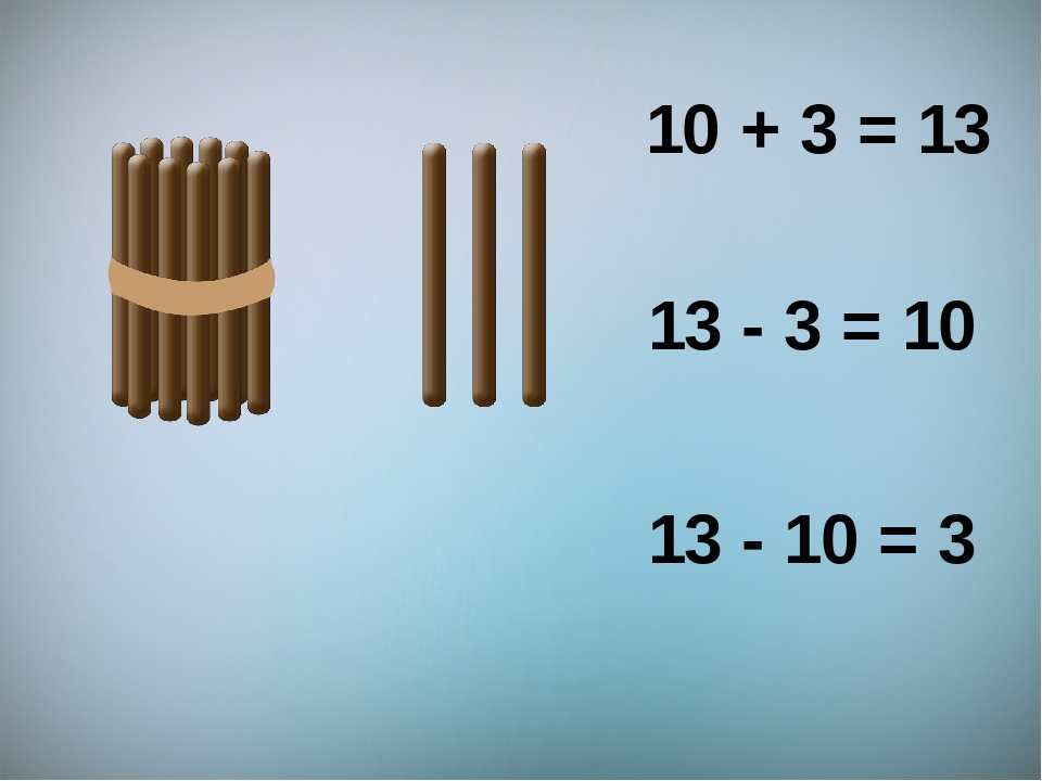 10 + 3 = 13 13 - 3 = 10 13 - 10 = 3