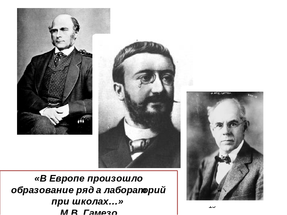 «В Европе произошло образование ряда лабораторий при школах…» М.В. Гамезо