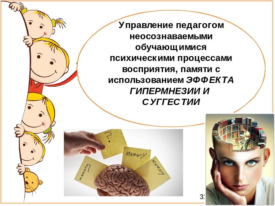 Управление педагогом неосознаваемыми обучающимися психическими процессами восприятия, памяти с использованием ЭФФЕКТА ГИПЕРМНЕЗИИ И СУГГЕСТИИ