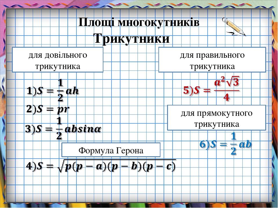 Площі многокутників Трикутники для довільного трикутника для прямокутного трикутника для правильного трикутника Формула Герона