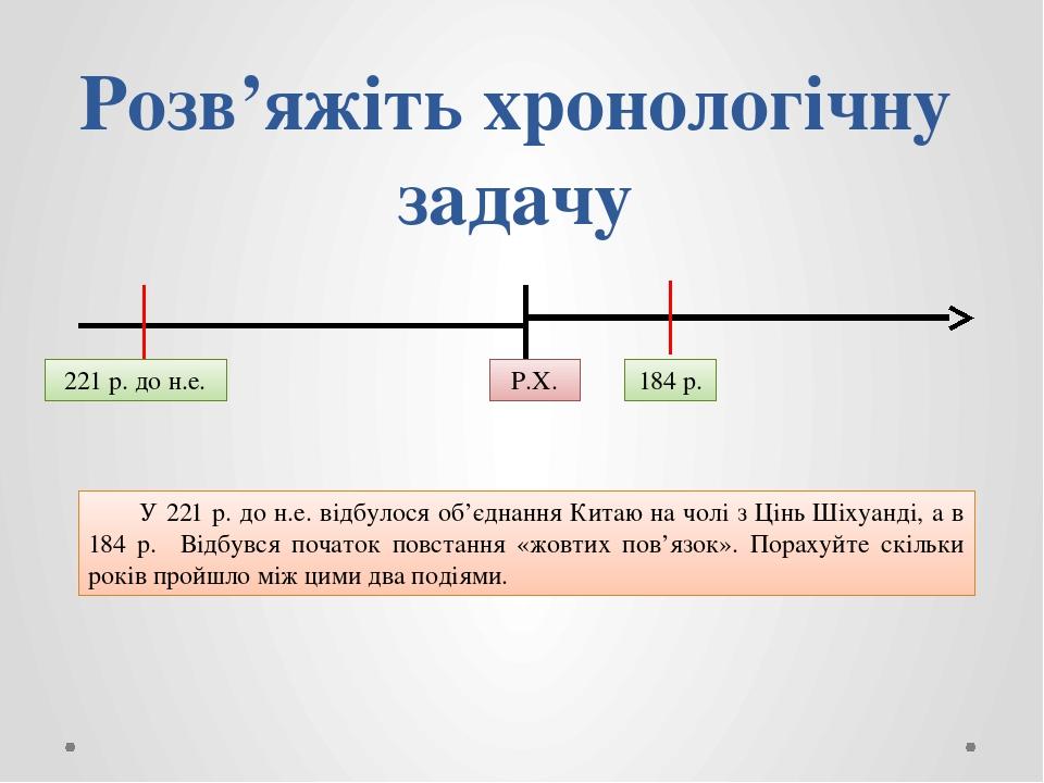 Розв'яжіть хронологічну задачу Р.Х. 221 р. до н.е. 184 р. У 221 р. до н.е. відбулося об'єднання Китаю на чолі з Цінь Шіхуанді, а в 184 р. Відбувся ...