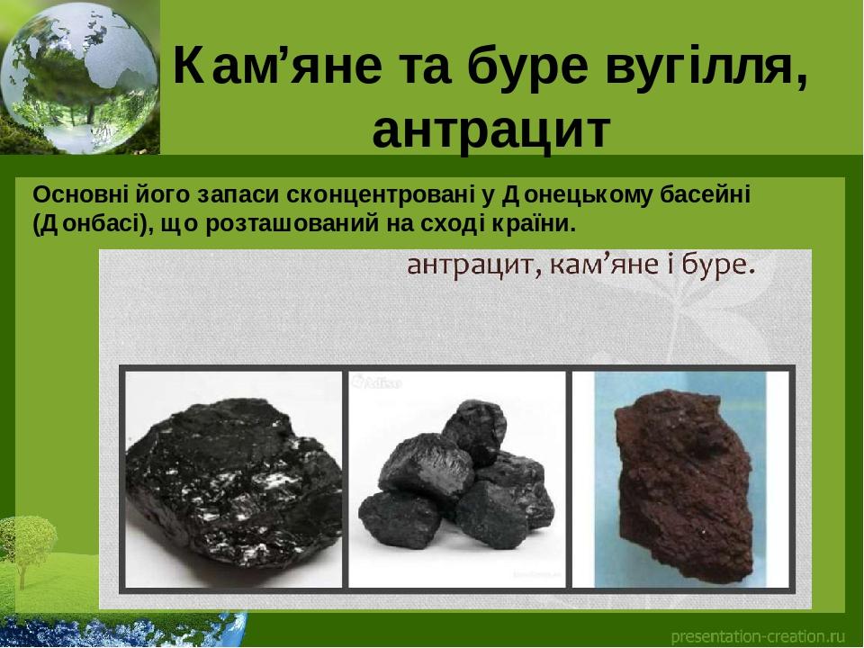 Кам'яне та буре вугілля, антрацит Основні його запаси сконцентровані у Донецькому басейні (Донбасі), що розташований на сході країни.