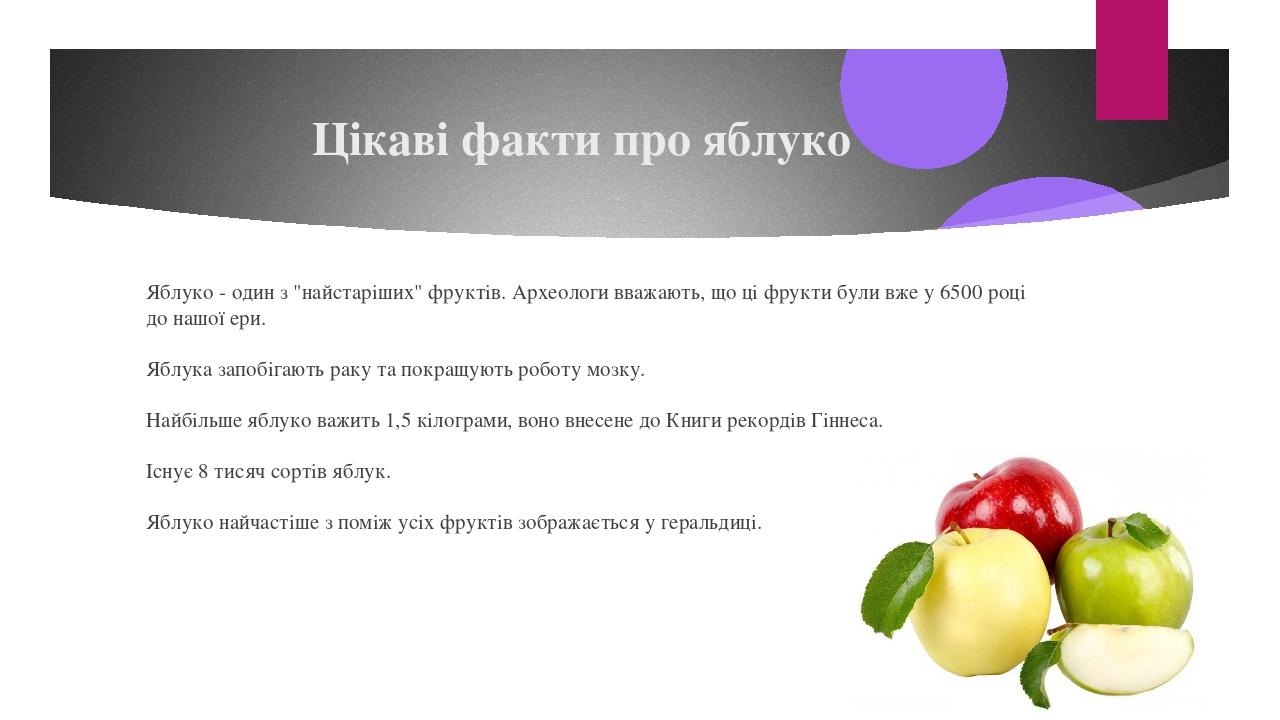 """Цікаві факти про яблуко Яблуко - один з """"найстаріших"""" фруктів. Археологи вважають, що ці фрукти були вже у 6500 році до нашої ери. Яблука запобігаю..."""