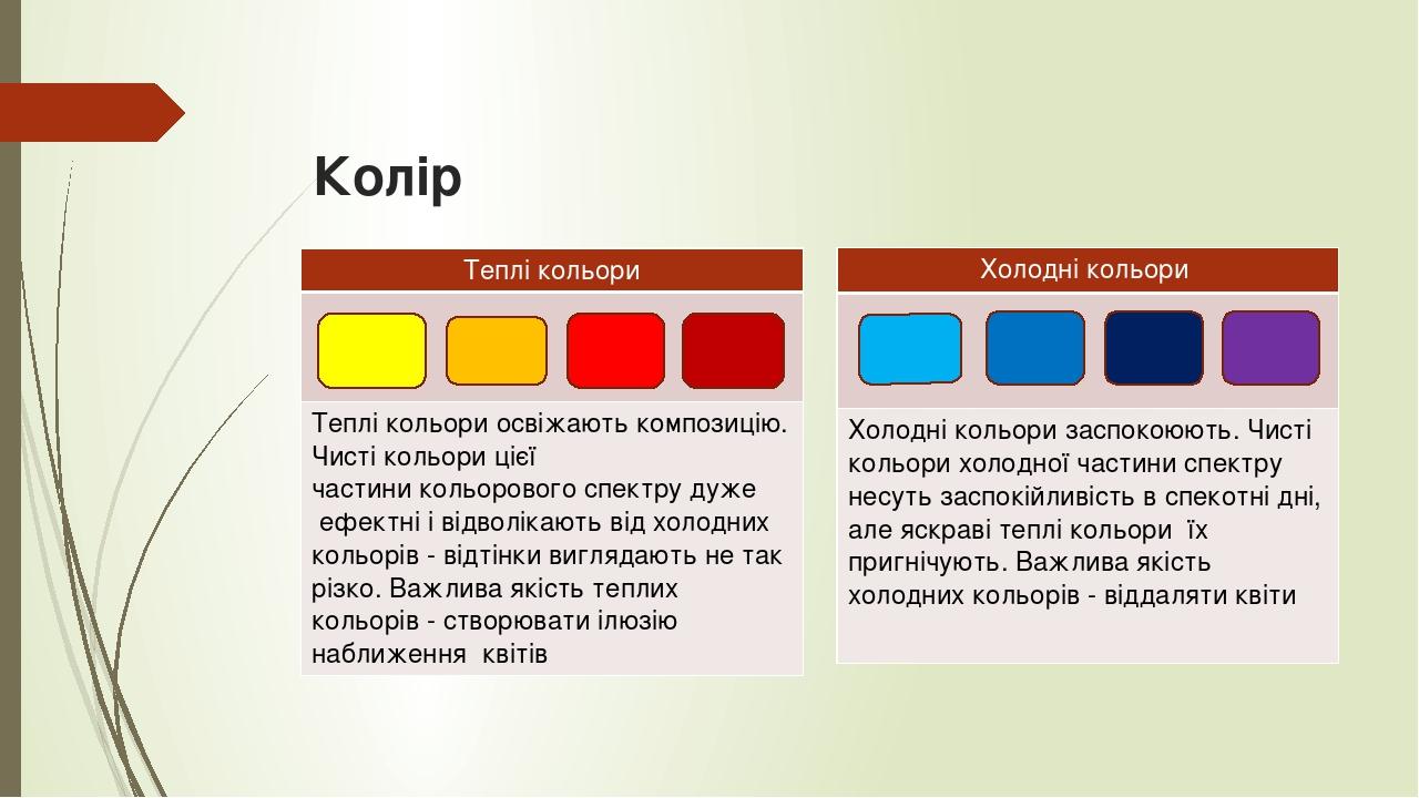 Колір Теплі кольори Теплі кольориосвіжають композицію. Чисті кольори цієї частиникольорового спектру дуже ефектні і відволікають від холодних к...