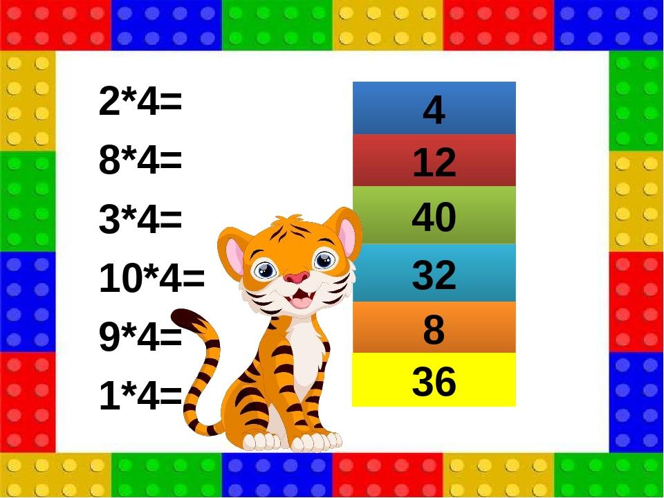 2*4= 8*4= 3*4= 10*4= 9*4= 1*4= 4 12 40 32 8 36