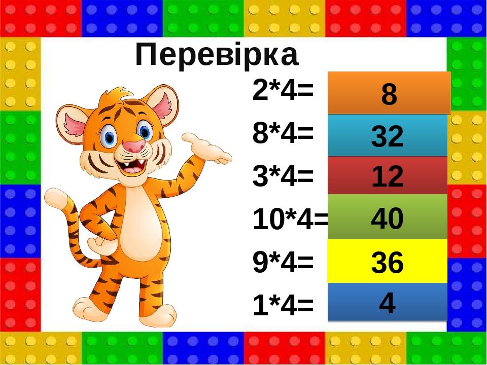2*4= 8*4= 3*4= 10*4= 9*4= 1*4= 4 12 40 32 8 36 Перевірка