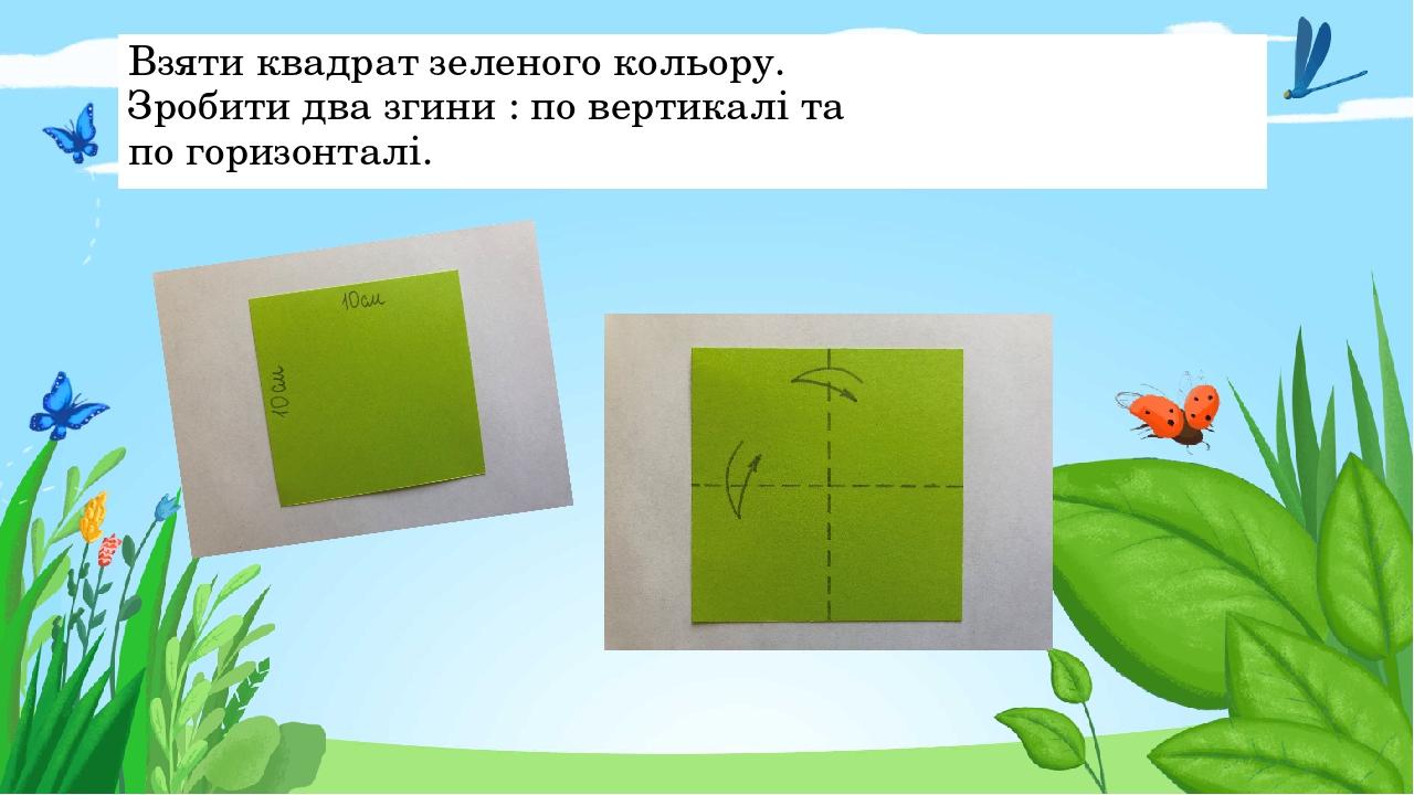Взяти квадрат зеленого кольору. Зробити два згини : по вертикалі та по горизонталі. Правильный ответ Неправильный ответ Неправильный ответ