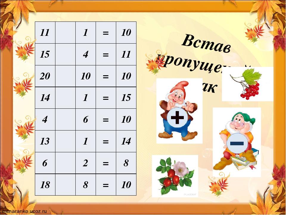 Встав пропущений знак 11 1 = 10 15 4 = 11 20 10 = 10 14 1 = 15 4 6 = 10 13 1 = 14 6 2 = 8 18 8 = 10