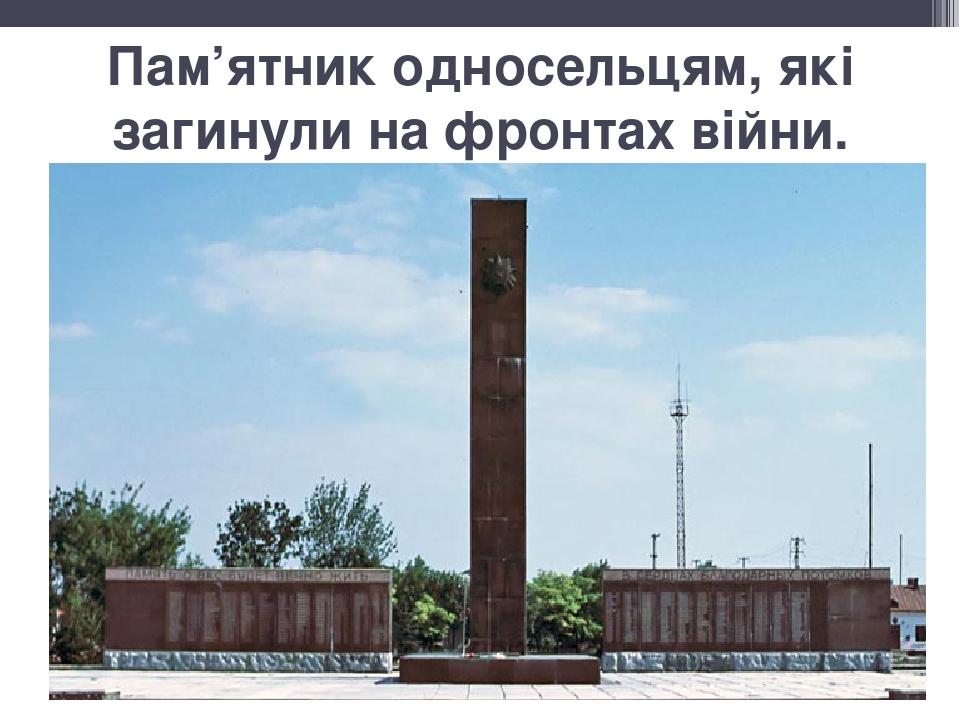 Пам'ятник односельцям, які загинули на фронтах війни.