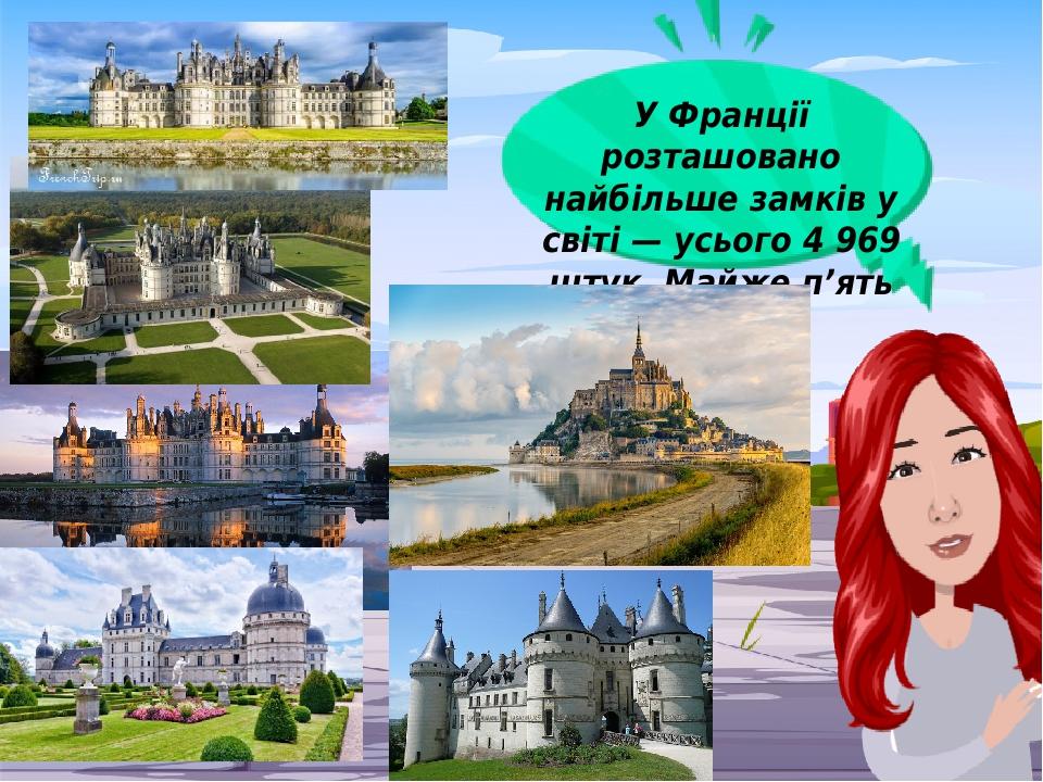 У Франції розташовано найбільше замків у світі — усього 4 969 штук. Майже п'ять тисяч!