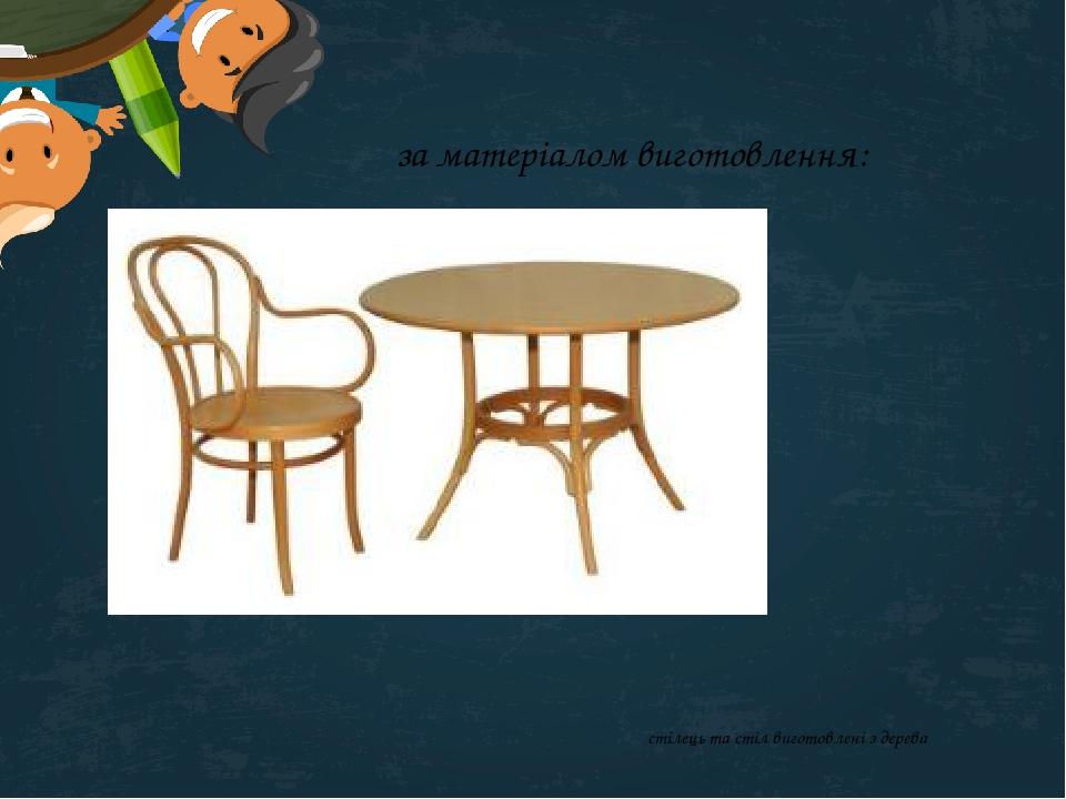за матеріалом виготовлення: стілець та стіл виготовлені з дерева