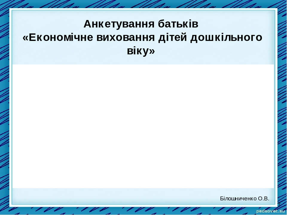 Анкетування батьків «Економічне виховання дітей дошкільного віку» Білошниченко О.В.