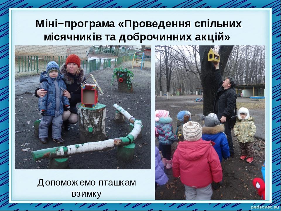 Міні−програма «Проведення спільних місячників та доброчинних акцій» Допоможемо пташкам взимку