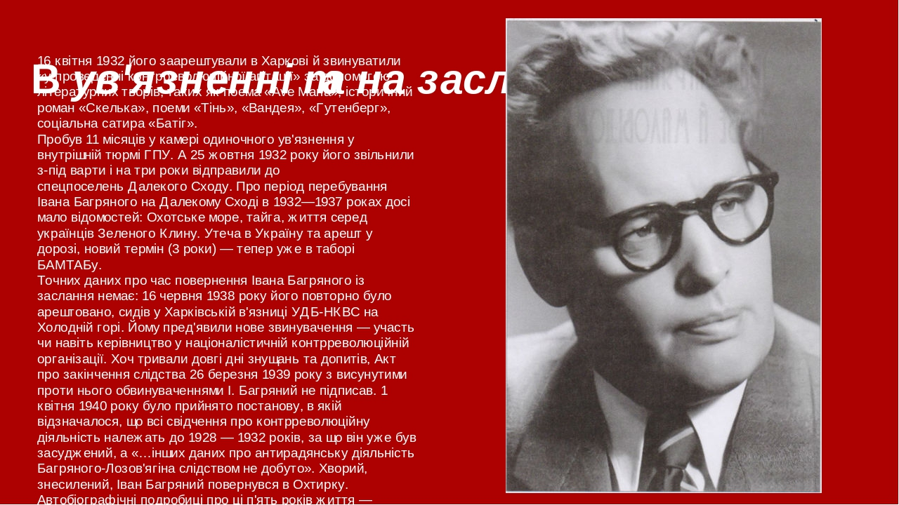 В ув'язненні та на засланні 16 квітня 1932 його заарештували вХарковій звинуватили «у проведенні контрреволюційної агітації» за допомогою літерат...