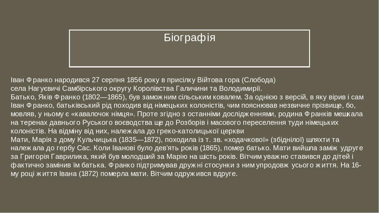 Біографія Іван Франко народився 27 серпня 1856 року в присілку Війтова гора (Слобода) селаНагуєвичіСамбірського округуКоролівства Галичини та Во...