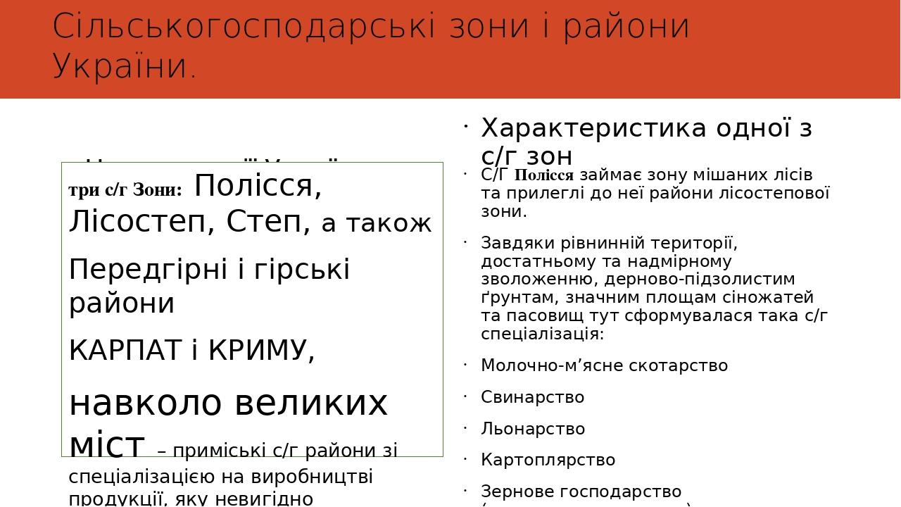 Сільськогосподарські зони і райони України. На території України виділяються : три с/г Зони: Полісся, Лісостеп, Степ, а також Передгірні і гірські ...